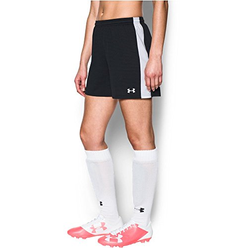 (Under Armour Women's Microthread Match Shorts, Black /White, Small )
