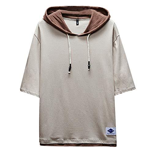 Big Sale! Fastbot Men's T-Shirt Short Sleeve fit Cotton Summer Fashion Casual Patchwork Hoodie s s Top Blouse Khaki