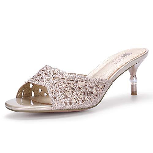 IDIFU Women's IN2 Nina Rhinestone Open Toe Slide Heeled Sandals Stiletto Kitten Heel Dress Party Mule Shoes (9.5 M US, Gold)
