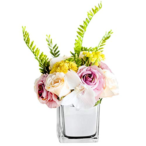 (Fresh home, Artificial Flowers with Vase, Fake Babysbreath Rose with Silver Vase, Faux Flower Arrangements for Home Decor, Silver, Small)