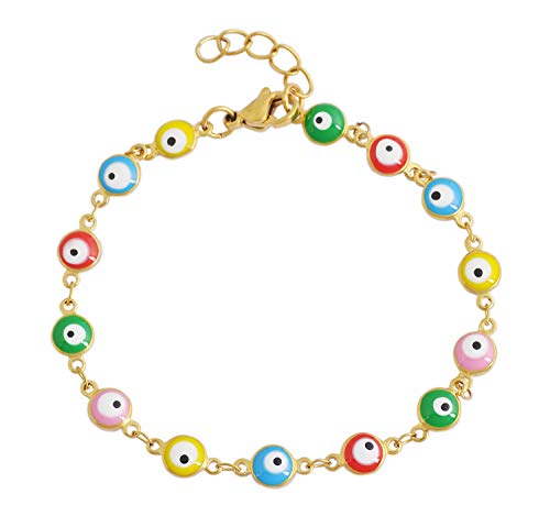 Lyla Collection by Ben and Jonah Stainless Steel Evil Eye Charm Elastic Bracelet (Multi Color)