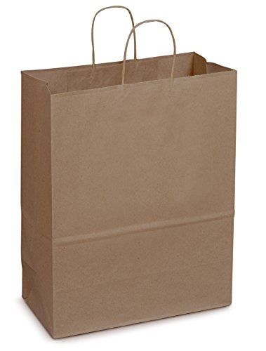 Duro ID# 87128 Mart Shopping Bag 65# 100% Recycled Natural Kraft 250pk 13 x 7 x 17