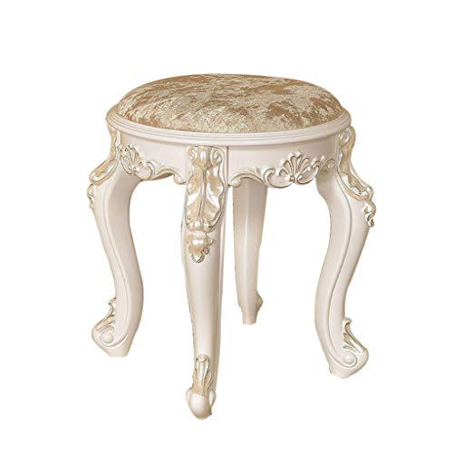 Mesurn Dressing Round Chair, Exquisitely Carved, White Column Foot, Strong Bearing Capacity, European Creative Fabric Stool