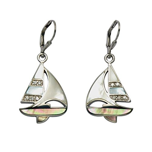 Sterling Silver & Multi Color Inlaid Mother of Pearl Leverback Sailboat Earrings w/Faceted Crystals by Wild Things