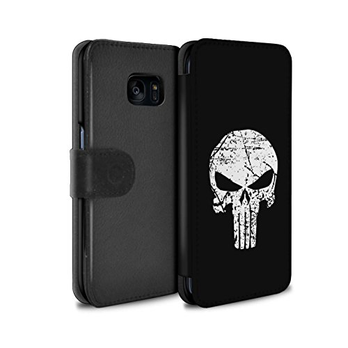 STUFF4 PU Leather Wallet Flip Case/Cover for Samsung Galaxy S7 Edge/G935 / Punisher Inspired Art Design / Anti-Hero Comic Art Collection