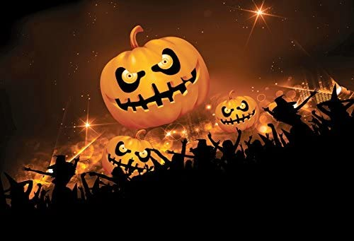 Amazon Com Leyiyi 7x5ft Photography Background Happy Halloween Party Backdrop Gothic Pumpkin Lamps Terror Costume Festival Wallpaper Sparkle Stars Widow Witch Hats Carnival Night Photo Portrait Vinyl Studio Prop Camera