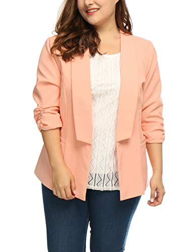 uxcell Women's Plus Size 3/4 Sleeves Shawl Collar Casual Blazer Pink 1X 3/4 Sleeve Shawl Collar