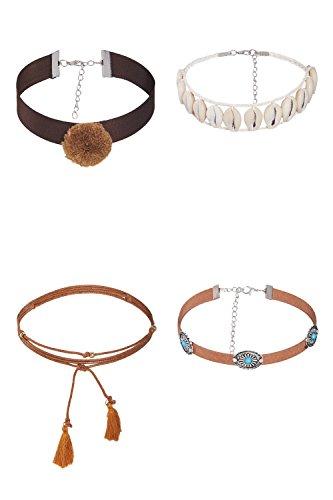 Ribbon Shell (4 Pcs Pom Pom Ribbon Tribal Shell Wrap Boho Chokers Set Necklaces For Women Girls (Brown, beige, turquoise))