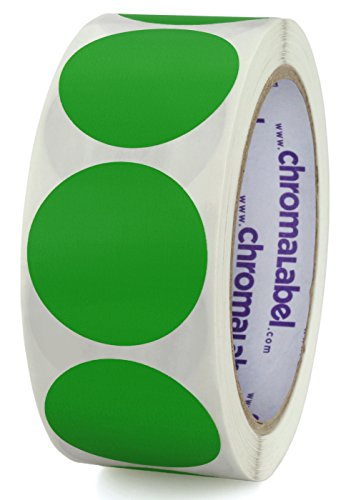 Green Inventory Circle Labels - ChromaLabel 1-1/2 inch Color-Code Dot Labels | 500/Roll (Green)