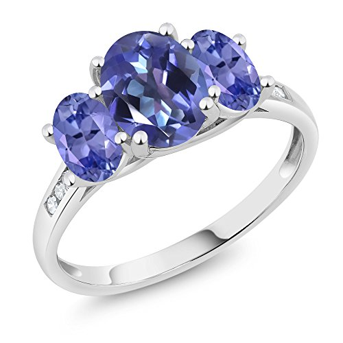 Gem Stone King 10K White Gold Diamond Accent Oval Blue Mystic Topaz Blue Tanzanite 3-Stone Ring 2.20 Ct (Size - Ring Tanzanite 3 Stone