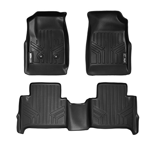 SMARTLINER Floor Mats 2 Row Liner Set Black for 2015-2018 Chevy Colorado Crew Cab / GMC Canyon Crew Cab