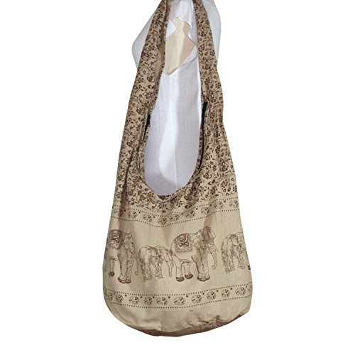 Hobo Hippie Elephant Sling Crossbody Bag Purse Thai Top Zip Handmade New Color Light Brown