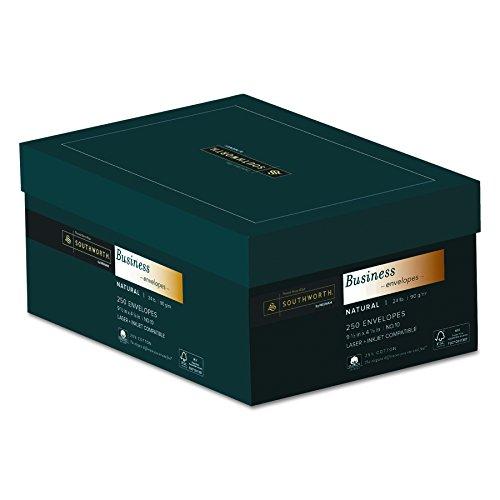 Southworth #10 25% Cotton Business Envelopes, 24 lb, Natural, 250 per Box (J404N-10)