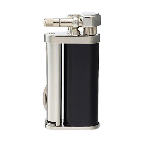 Tsubota Pearl Eddie Japanese Premium Pipe Tool Lighter Black Gloss Lacquer Silver Finish ()