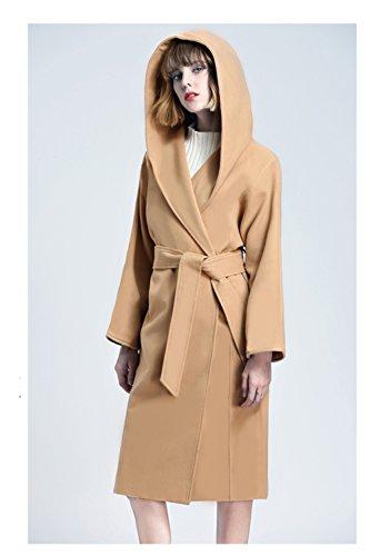 Veste Maxi En Vêtements Hiver Camel Trench Capuche Et Automne Les Poche Coat Une À B6wp4vq
