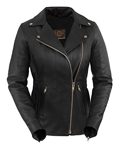 Ladies Premium Motorcycle Jacket - True Element Womens Premium Braided Motorcycle Leather Jacket (Black, Size L)