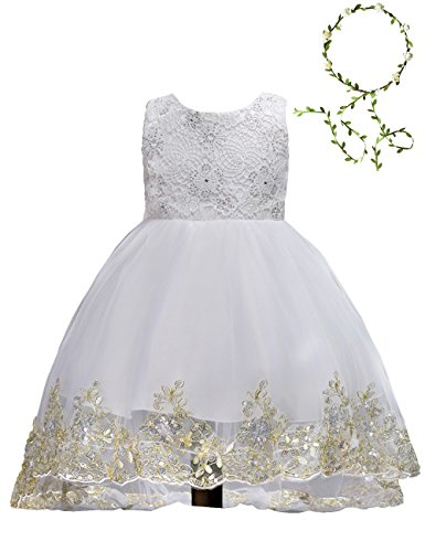 90f4b65b384 21KIDS Elegant Sleeveless Sequins Hem Tulle Long Tail Wedding Party Princess  Gown Pageant Dress(White