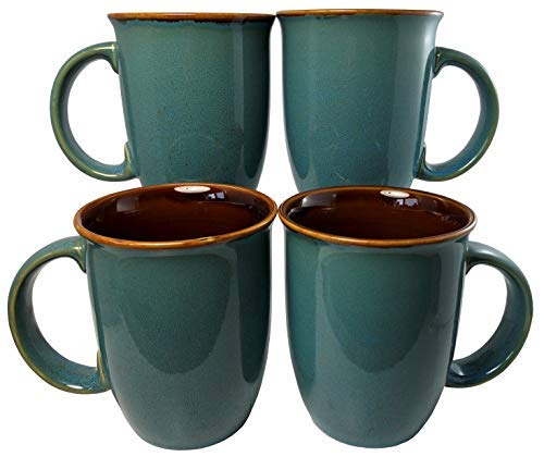 - Leopard Glaze Coffee Mugs | Set of 4 (Blue) | 14oz Ceramic Taper Mugs | Microwave & Dishwasher Safe