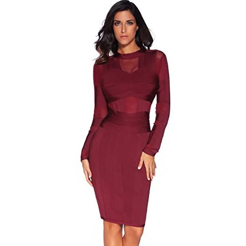 82e40a93c50 Meilun Women s High Neck Long Sleeves Mesh Bandage Elegant Dress 60 ...