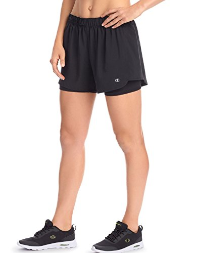 Champion Women's Stretch Woven 2 in 1 Short, Black, S (Mesh Womens Shorts 1 Champion)