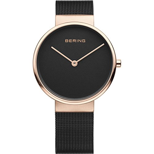 Bering Women's 39mm Black Steel Bracelet Rose Gold Plated Case Sapphire Crystal Quartz Watch 14539-166