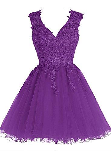 Abendkleider Damen Violett Ballkleid Appliques Beyonddress Kurz V Ausschnitt Brautjungfernkleider Cocktailkleid wxza1q