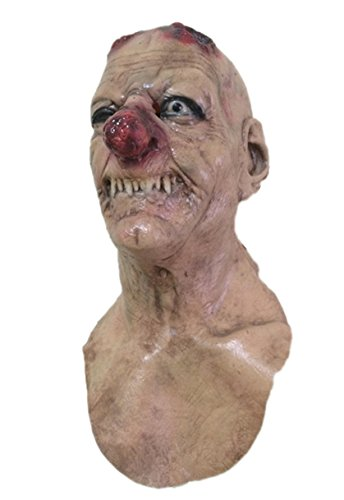 Zombie Scarecrow Mask (DylunSky Halloween Scarecrow Horror Mask Rot Red Nose Scary Mask Long Nose Zombie Latex Mask (Rot Nose))