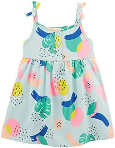 Carter s Infant Girls Baby Sundress Outfit Tropical Blue Leaf Print Sun  Dress c5d259163