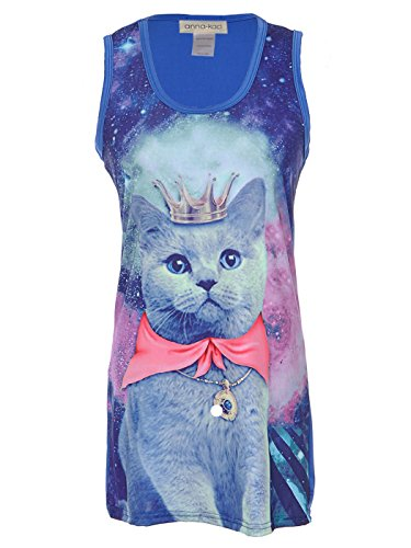 Anna-Kaci Womens Blue Galaxy Kitty Cat Queen Print Strange Cute Mini Tank Dress, Blue, Large - Fancy Dress Cat Woman