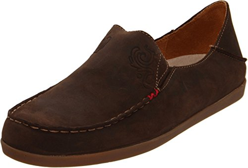 (OLUKAI Women's Nohea Nubuck Slip On Shoes, Dark Java/Tan, 7.5 M US)