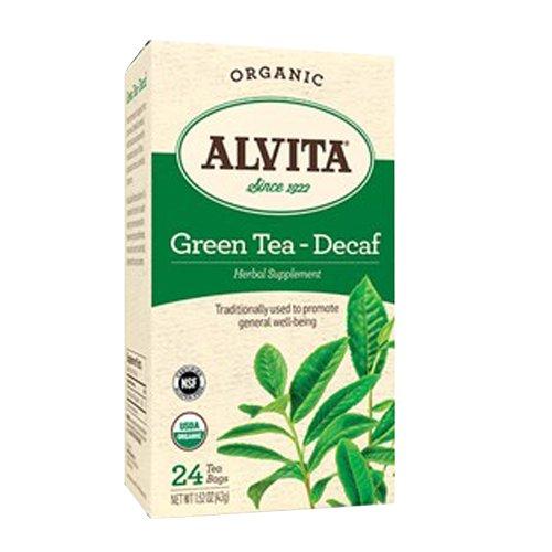 Alvita Organic Green Tea Herbal Supplement, Decaf, 24 Count