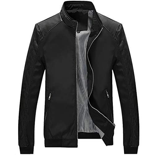 Bomber Jacket Outerwear Leather Mens (WULFUL Men's Bomber Jacket Casual Stand Collar Slim Fit Leather Sleeve Jackets)