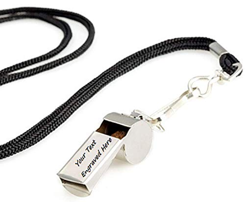 Personalized Custom Engraved Stainless Steel Coach Whistle Keychain, for Coach Referee Teacher Dad Men.