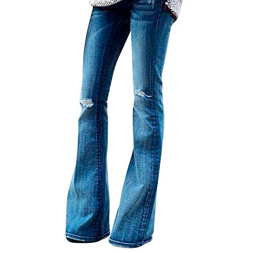 (iNoDoZ Womens Jeans Denim Ripped Hole Regular Fit Mid Rise Boot Cut Jean)