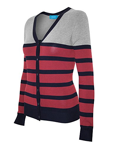 Cielo Women's Soft Stretch Striped V-neck Button Down Sweater Cardigan Coral M (3/4 Cardigan V-neck Sleeve)