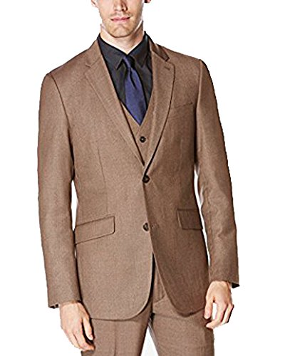 Perry Ellis Men's Slim Fit Chinchilla Brown Suit Jacket Blazer 38 Regular Chinchilla Coats Men