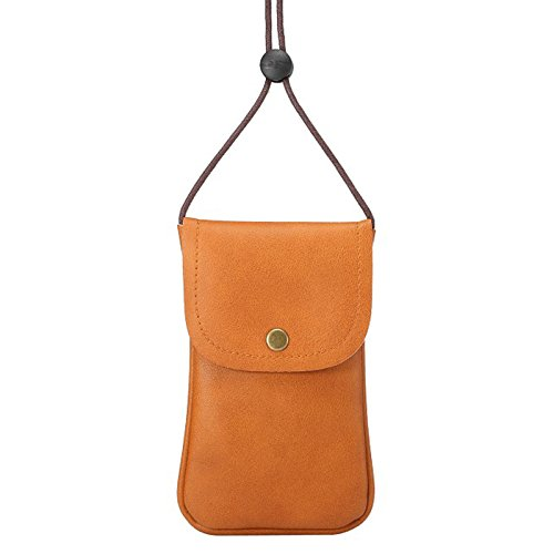 Dteck(TM) Universal Crossbody Phone Purse Case, Phone Bag with Long Shoulder Strap & Metel Buckle for Apple iPhone/Samsung Series and Other Smart Phones Under 5.7 Inch (3 Vertical Brown)