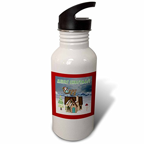 3dRose Beverly Turner Christmas Design - Santa, Sleigh, Reindeer, House, Trees, Decorations, Merry Christmas - Flip Straw 21oz Water Bottle (wb_272705_2) - Mouse Sleigh