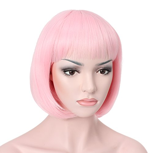 "OneDor 10"" Short Straight Flapper Bob Heat Friendly Cosplay Party Costume Halloween Hair Wig (T1911-Pink) - Pink Hair Halloween"