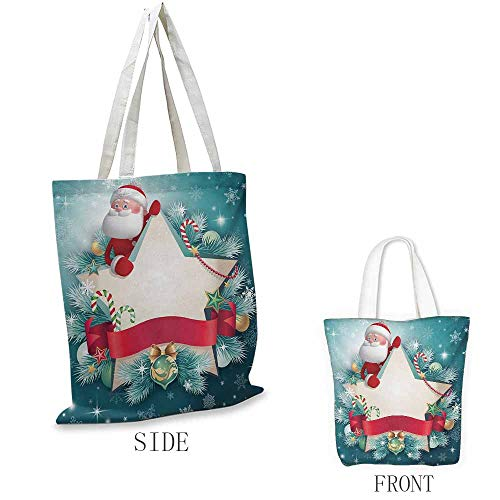 (Christmas Washable shopping bag Santa Claus Star Banner Snowflakes Ribbon and Candy Cane Tree Winter Season Theme Handmade shopping bags W15.75 x L13.78 Inch Red White)
