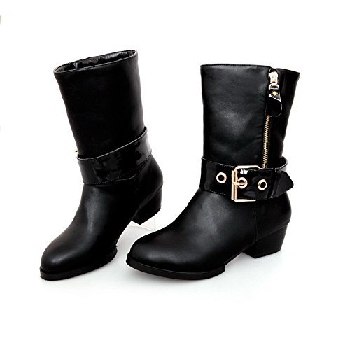 Black Plush AmoonyFashion Heels Low Solid Round with US 7 B Womens Short Heels Toe Closed Boots M Square PU qqfw6A8