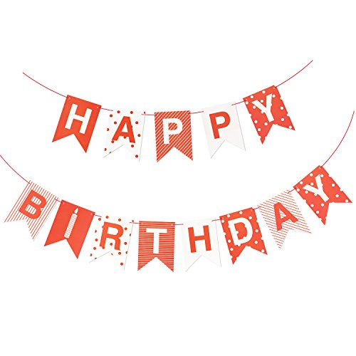 Birthday Party Banner Decorations, Red 10ft