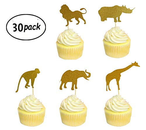 Jungle Safari Cake - 30 Pack Gold Glitter Jungle Animal Toppers Cupcake Picks Jungle Animals for Jungle safari Animals Party Baby Showers Birthday Party Cake Decorations
