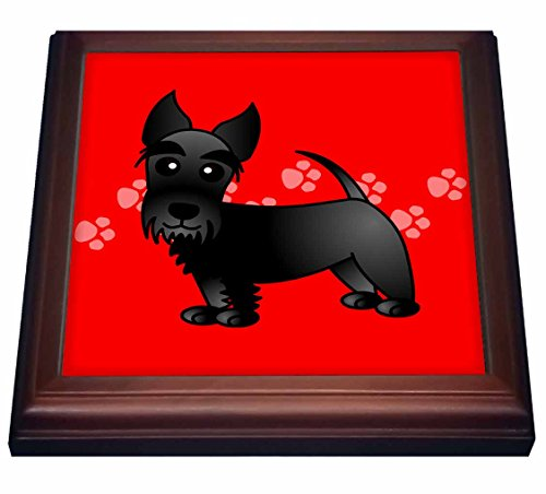 3dRose trv_40868_1 Cute Black Scottie-Cartoon Dog-Red with Pawprints Trivet with Ceramic Tile, 8 by 8
