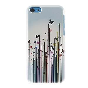 YULIN Hermosas mariposas en el modelo de flores del estuche rígido para el iPhone 5C