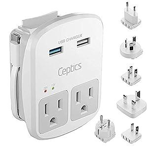 Ceptics World Travel Adapter Kit – 2 USB + 2 US Outlets, Surge Protection, Plug for Europe, UK, China, Australia, Japan…