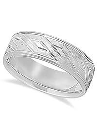 Comfort fit Satin Finished Carved Design Band Wedding Ring For Men in Palladium (7mm)