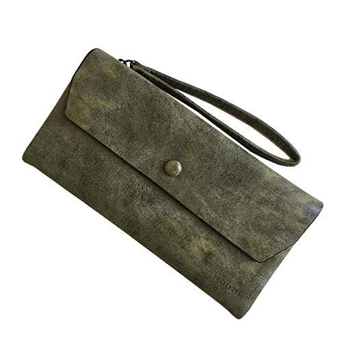 Rfid Women's Wallets Ladies Clutch Leather Wristlet Card Phone Organizer Zipper Purse (lime Green2)