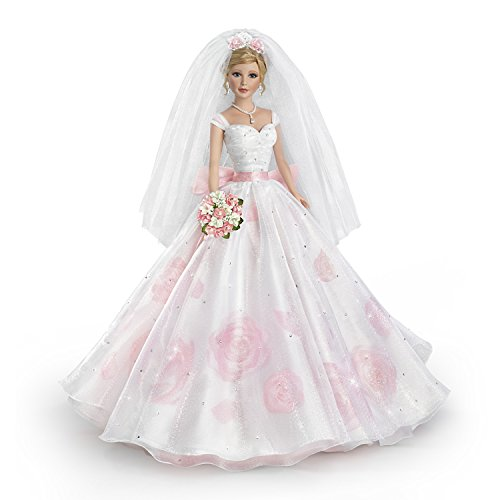 The Ashton-Drake Galleries Sandra Bilotto Bisque Porcelain Bride Doll in Rose Printed Gown