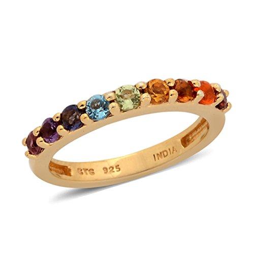 Multi Stone Band (Garnet, Multi Gemstone Yellow Gold Plated Silver Ring Size 8)
